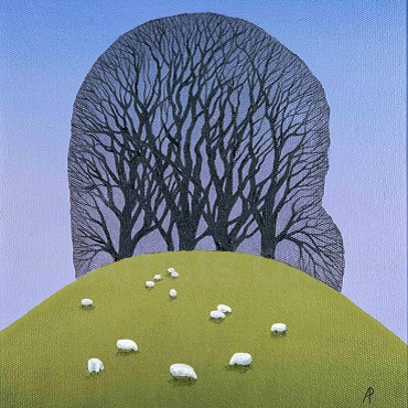 Hilltop with Sheep, oils on canvas by Anna Phillips