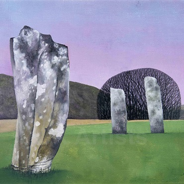 Kilmartin Stones 2, oils on canvas by Anna Phillips